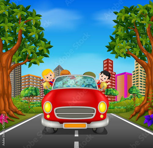 Staande foto Cartoon cars Man and family driving a car on the road