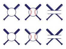 Vector Set With Baseball Logos, Split And Circle Monograms. Baseball Crossed Bats. Criss Cross Bats. Flat Vector Illustration