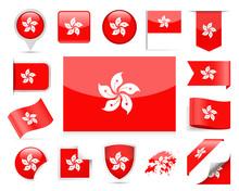 Hong Kong Flag Vector Set
