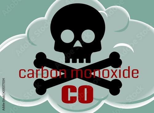 Valokuvatapetti Carbon Monoxide Poisonous Gas Cloud Symbol