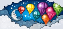 Banner Moon And Hot Air Balloons