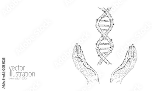 Dna 3d Chemical Molecule Structure Hands Low Poly Polygonal