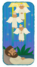 Jacob Ladder - Cute Illustration Of Jacob Sleeping And Angels Are Going Up And Down A Ladder. Eps10
