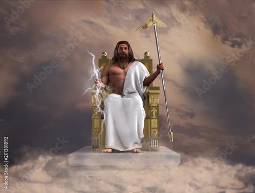 Ilustración del dios Zeus Wallpaper Mural