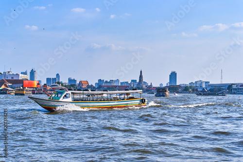 Bangkok city centre view from Chao Phraya River, Thailand