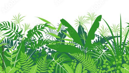 Tropical Plants  Green  Seamless Pattern