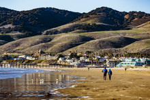 Pismo Beach And Pier - Pismo Beach, California, February 15, 2018:  View Of Cliffs, Pacific Ocean, Business District,  And Pismo Beach Pier.