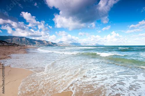 Windy waves of Tyrrhenian sea. Alcamo marina, Sicily, Italy Wallpaper Mural