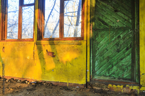 Fototapety, obrazy: colored doors and a large window in the loft