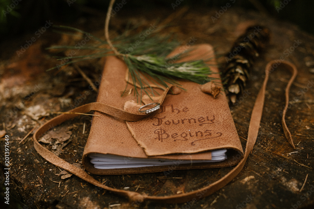 Fototapeta leather journal outside on a log