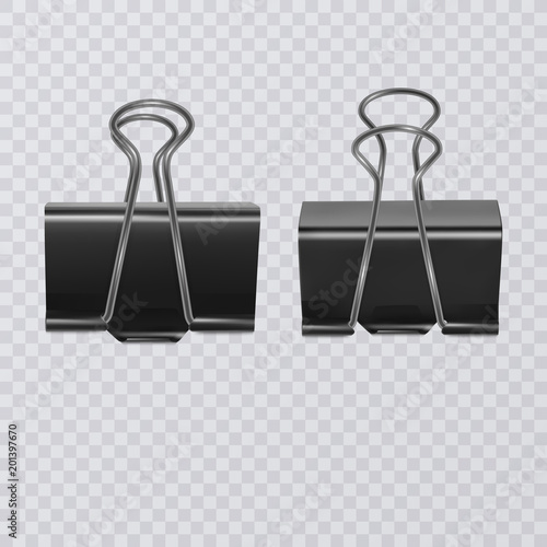 Fotografía  Set of realistic document clips isolated on white background