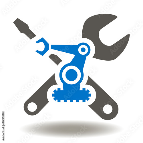 Spanner Screwdriver Robot Arm Icon Vector Repair Automation