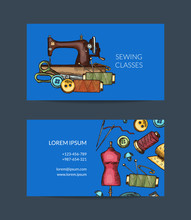 Vector Hand Drawn Sewing Eleme...