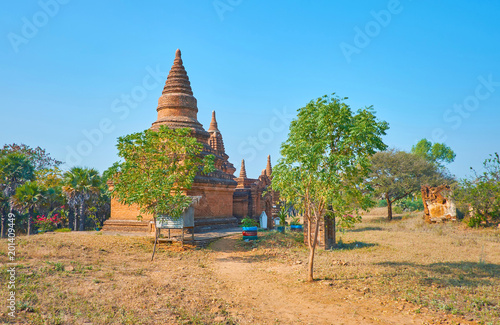 Hidden in greenery in New Bagan, Myanmar
