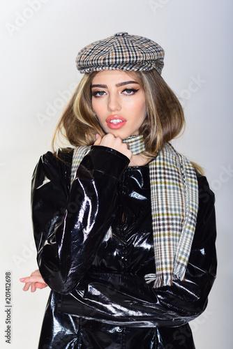 3b99bb5b403 Girl with long hair and make up wears black cloak