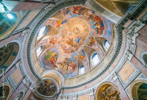 The painted vault with the Apotheosis of Saint James by Silverio Capparoni, in the Church of San Giacomo in Augusta, in Rome, Italy Canvas Print