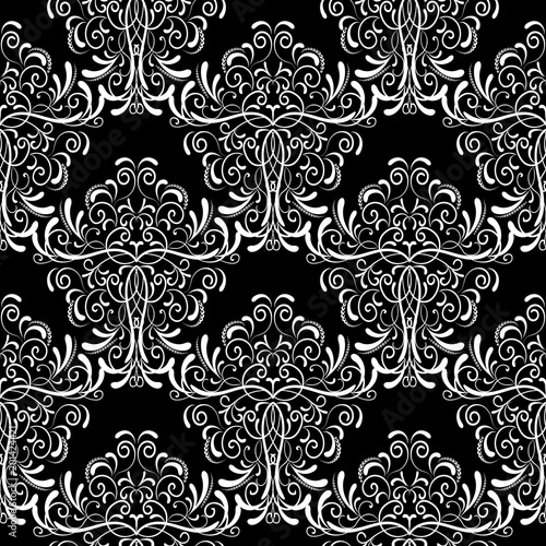 Vintage Black And White Damask Seamless Pattern Vector Floral