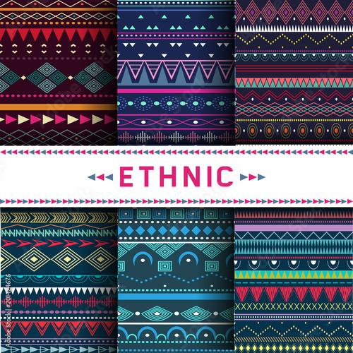 Foto auf AluDibond Boho-Stil Set of six colorful ethnic patterns. Background in the boho style, geometric vector seamless patterns.Seamless vector tribal texture.