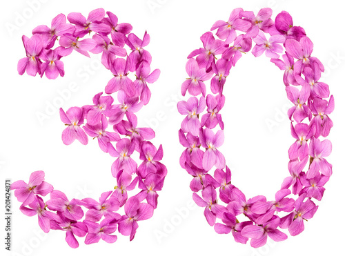 Poster  Arabic numeral 30, thirty, from flowers of viola, isolated on white background