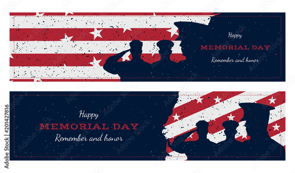 Fototapety, obrazy: Happy memorial day. Set vintage retro greeting card with flag and soldier with old-style texture. National American holiday event. Flat Vector illustration EPS10
