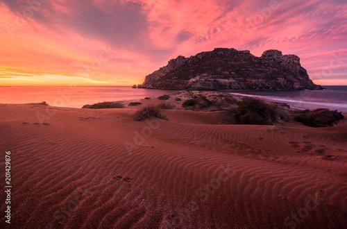 Amanecer en las dunas de playa amarilla - Isla del Fraile