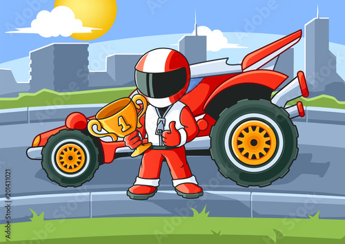 Staande foto Cartoon cars Champion Racer with a Golden Cup and His Racing Car. Coloring Book. Colored Illustration.
