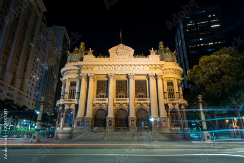 Foto op Canvas Theater Famous Municipal Theater of Rio de Janeiro, historical building, is illuminated at night