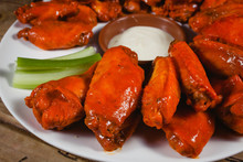 Chicken Wings Spicy Food And Cheese Dip American Pub Close Up