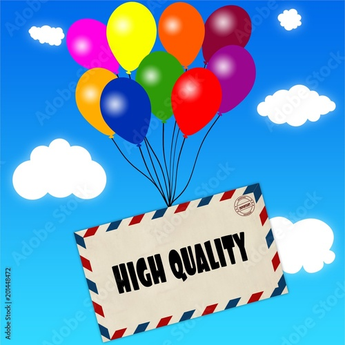 Fotografie, Obraz  Envelope with HIGH QUALITY message attached to multicoloured balloons on blue sky and clouds background