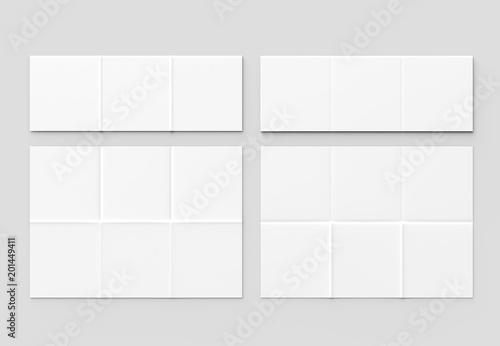 Fototapeta 12 page leaflet - French fold square brochure mock up isolated on soft gray background. 3D illustrating. obraz na płótnie
