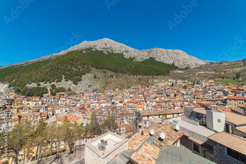 Celano, Italy - 7 April 2018 - A mountain town in province of L'Aquila, Abruzzo Canvas Print