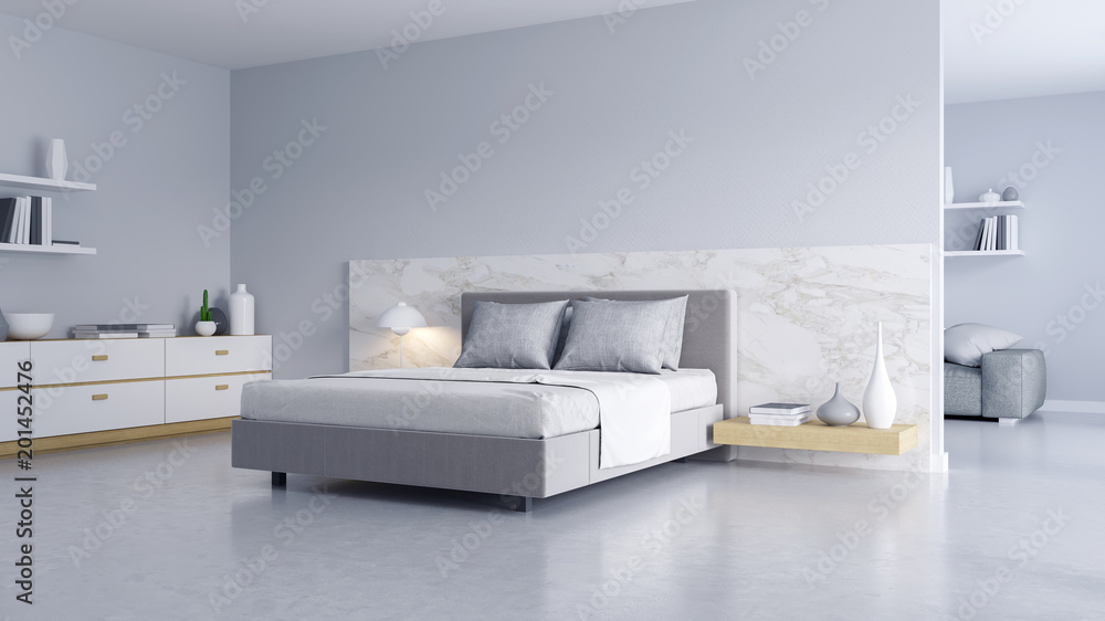 Fototapety, obrazy: Bedroom and Modern Loft style.,Cozy white and gray room minimalist concept ,bed with Polished concrete floor and white wall ,3d rendering