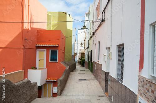 Foto op Canvas Baksteen Beautiful mountain village San Andres in Tenerife. Multicolored buildings in Canary islands