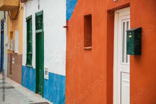 Foto op Canvas Baksteen Beautiful mountain village San Andres in Tenerife. Multicolored buildings in Canary islands