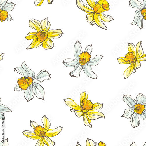 Photo Seamless floral pattern on white background