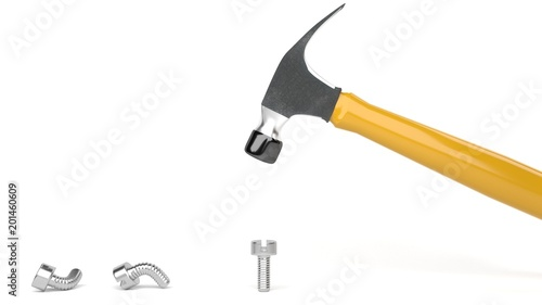 Fotomural Hammer banging metal screws, symbolizes hard way or smart way, accurate solution