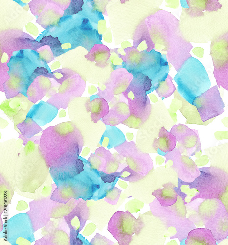 Fotografía  Seamless background pattern with pale yellow, pastel purple and turquoise blue s