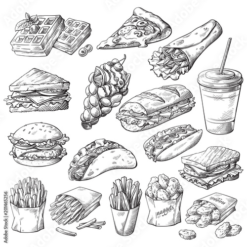 Leinwand Poster Set with fast food products on white background