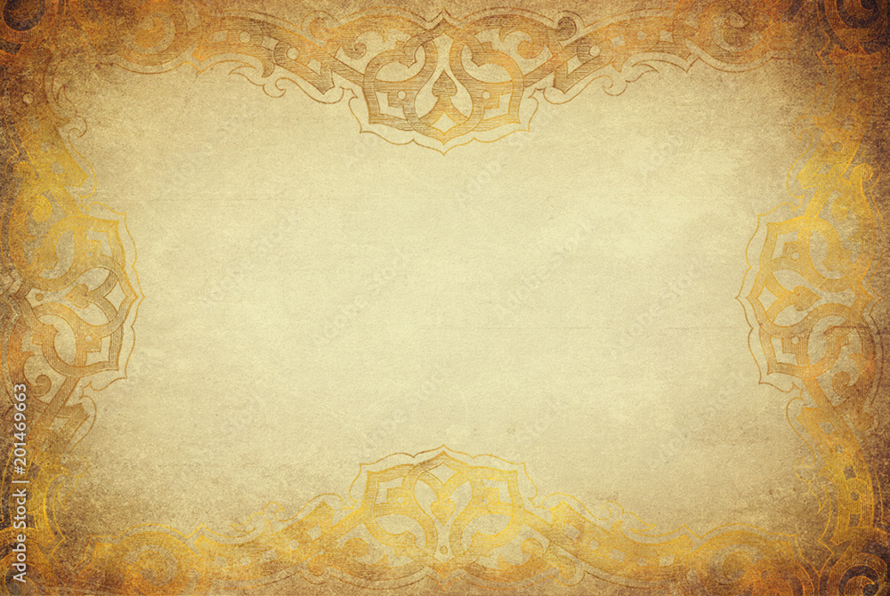 Fototapety, obrazy: Golden grunge texture with artdeco ornament frame