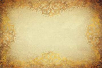 Golden grunge texture with artdeco ornament frame