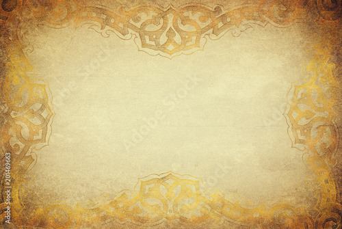 Photo  Golden grunge texture with artdeco ornament frame