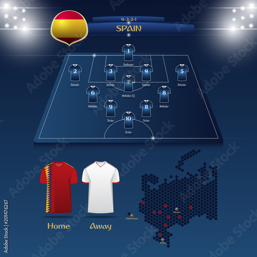 Football Map Of Spain.Team Spain Soccer Jersey Or Football Kit With Match Formation Tactic