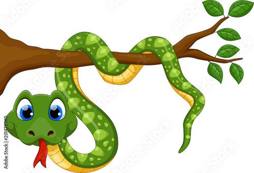 Fototapeta premium Wąż kreskówka na gałęzi
