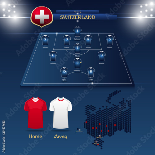 f6d858f1c42 Team Switzerland soccer jersey or football kit with match formation tactic  infographic. Football player position on football pitch and stadium map.