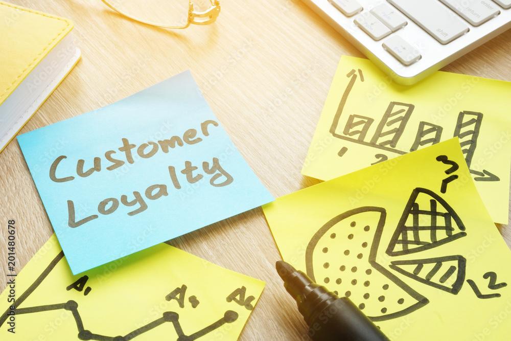 Fototapeta Sticks with customer loyalty program on an office table.