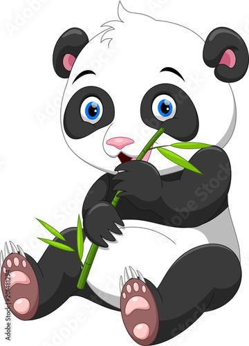 Fototapeta premium Cute baby panda z bambusa na białym tle
