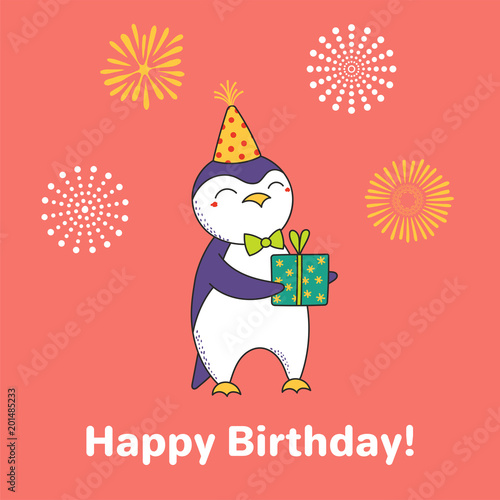 d65d6c99b6e56 Hand drawn Happy Birthday greeting card with cute funny cartoon ...