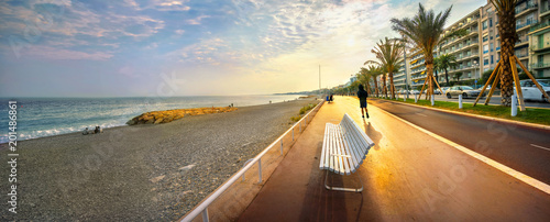 Deurstickers Nice Promenade des Anglais in Nice at sunset. Cote d'Azur, French riviera, France