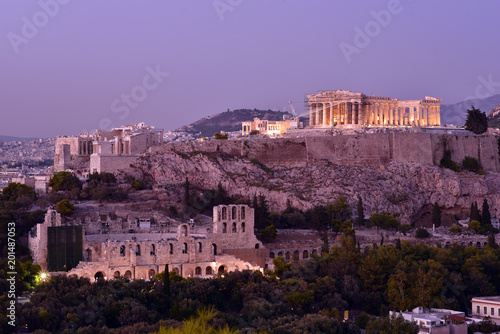 Poster Athens. Panoramic view of the Acropolis from Philapoppos Hill. Sunset, Attica, Greece