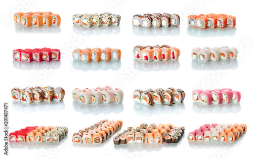 the sets of rolls of sushi collage a lot different on a white background in different colors for the menu or website